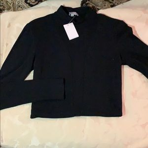 Black long sleeve crop top with sheer middle